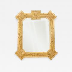 Vivai del Sud Rare XL rattan bamboo mirror Maurizio Mariani for Vivai Del Sud Roma 1970s - 1336695