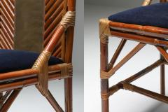 Vivai del Sud Vivai Del Sud Dining Chairs In Bamboo Brass Blue Velvet 1970s - 1259498