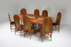Vivai del Sud Vivai Del Sud Dining Chairs In Bamboo Brass Blue Velvet 1970s - 1259499