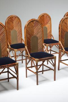 Vivai del Sud Vivai Del Sud Dining Chairs In Bamboo Brass Blue Velvet 1970s - 1259500