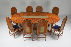 Vivai del Sud Vivai Del Sud Dining Chairs In Bamboo Brass Blue Velvet 1970s - 1259501