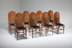 Vivai del Sud Vivai Del Sud Dining Chairs In Bamboo Brass Blue Velvet 1970s - 1259502