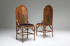 Vivai del Sud Vivai Del Sud Dining Chairs In Bamboo Brass Blue Velvet 1970s - 1259504