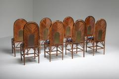 Vivai del Sud Vivai Del Sud Dining Chairs In Bamboo Brass Blue Velvet 1970s - 1259505