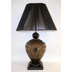 Vivarini Vivarini 1970s Italian One of a Kind Pair of Black and Smoked Murano Glass Lamps - 546439