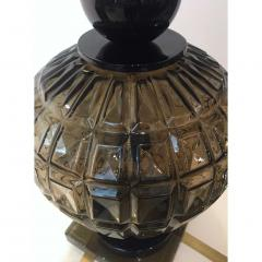 Vivarini Vivarini 1970s Italian One of a Kind Pair of Black and Smoked Murano Glass Lamps - 546440