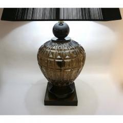Vivarini Vivarini 1970s Italian One of a Kind Pair of Black and Smoked Murano Glass Lamps - 546442