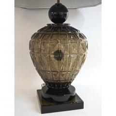 Vivarini Vivarini 1970s Italian One of a Kind Pair of Black and Smoked Murano Glass Lamps - 546450