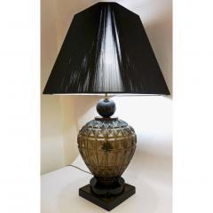 Vivarini Vivarini 1970s Italian One of a Kind Pair of Black and Smoked Murano Glass Lamps - 546455