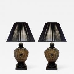 Vivarini Vivarini 1970s Italian One of a Kind Pair of Black and Smoked Murano Glass Lamps - 546920