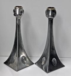 WMF Pair of WMF Art Nouveau Pewter Candlesticks Albin Muller Germany C 1906 - 396832