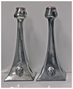WMF Pair of WMF Art Nouveau Pewter Candlesticks Albin Muller Germany C 1906 - 396834