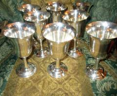 Wallace Silversmiths Inc Mid Century Modern Sterling Silver Wallace Silver Water Goblet Set - 996268