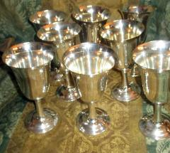 Wallace Silversmiths Inc Mid Century Modern Sterling Silver Wallace Silver Water Goblet Set - 996277