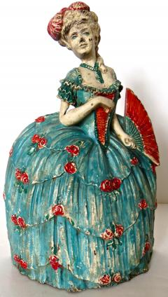 Waverly Studios Cast Iron Doorstop Woman In Hoop Skirt With Fan American Circa 1925 - 869207