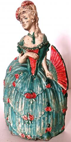Waverly Studios Cast Iron Doorstop Woman In Hoop Skirt With Fan American Circa 1925 - 869208