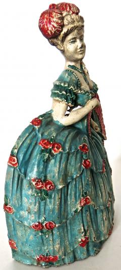Waverly Studios Cast Iron Doorstop Woman In Hoop Skirt With Fan American Circa 1925 - 869210
