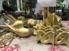 Werkst tte Carl Aub ck Carl Aubo ck Model 3530 Flatiron Patinated Brass and Cane Bookends - 973191