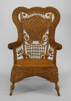 Whitney Reed Chair Co 19th C Whitney Reed High Back Wicker Armchair   599154