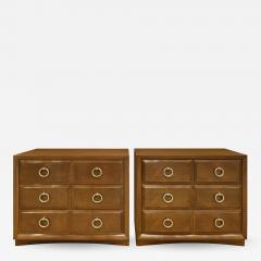 Widdicomb Furniture Co T H Robsjohn Gibbings Pair of Bedside Table Chests in Walnut 1950s signed  - 1050136