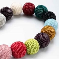 Wiener Werkst tte Wiener Werkstatte Round Beaded Necklace in Colored Beads - 286986