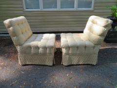 William Haines Inc Fabulous Pair Billy Haines Style Biscuit Tufted Slipper Chairs Hollywood Regency - 1139274