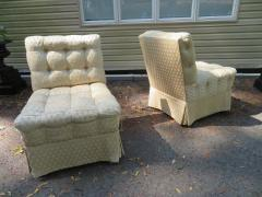 William Haines Inc Fabulous Pair Billy Haines Style Biscuit Tufted Slipper Chairs Hollywood Regency - 1139275