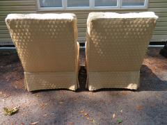William Haines Inc Fabulous Pair Billy Haines Style Biscuit Tufted Slipper Chairs Hollywood Regency - 1139276
