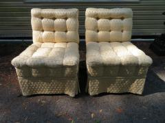 William Haines Inc Fabulous Pair Billy Haines Style Biscuit Tufted Slipper Chairs Hollywood Regency - 1139277