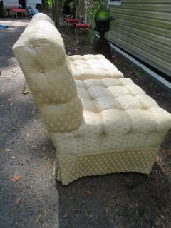 William Haines Inc Fabulous Pair Billy Haines Style Biscuit Tufted Slipper Chairs Hollywood Regency - 1139278