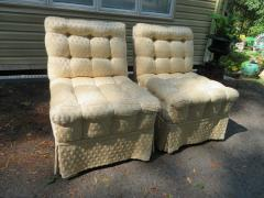 William Haines Inc Fabulous Pair Billy Haines Style Biscuit Tufted Slipper Chairs Hollywood Regency - 1139284