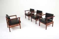 Wim Den Boon Wim Den Boon Executive Chairs in Black Leather and Rosewood 1950s - 1226136