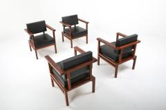 Wim Den Boon Wim Den Boon Executive Chairs in Black Leather and Rosewood 1950s - 1226137