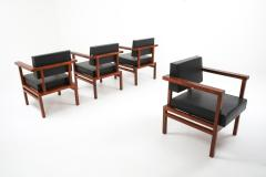 Wim Den Boon Wim Den Boon Executive Chairs in Black Leather and Rosewood 1950s - 1226139
