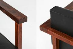 Wim Den Boon Wim Den Boon Executive Chairs in Black Leather and Rosewood 1950s - 1226141