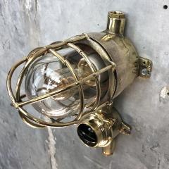 Wiska 1970s German Cast Brass Explosion Proof Wall Light Glass Shade Rotary Switch - 1158803