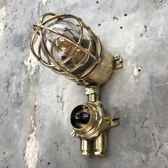 Wiska 1970s German Cast Brass Explosion Proof Wall Light Glass Shade Rotary Switch - 1158815