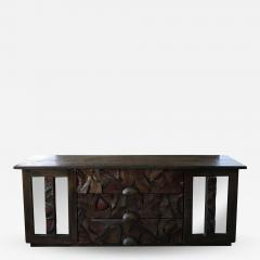 Witco WITCO Oceanic Brutalist Mirrored DRESSER in Exotic Carved Tropical Wood - 1698315