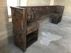 Witco WITCO Spectacular KING Headboard Nightstands Brutalist Exotic Carved Wood 60s - 1695796