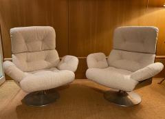 Xavier Feal Pair of High Slipper Chairs France 1970s - 2007292