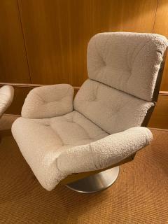 Xavier Feal Pair of High Slipper Chairs France 1970s - 2007293