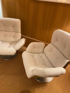 Xavier Feal Pair of High Slipper Chairs France 1970s - 2007294
