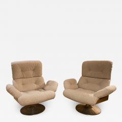 Xavier Feal Pair of High Slipper Chairs France 1970s - 2010015