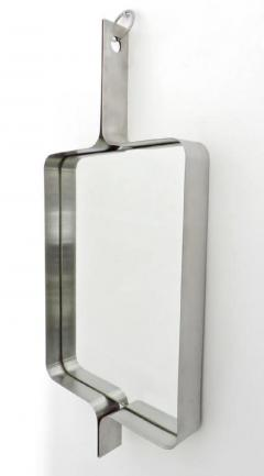 Xavier Feal Xavier Feal French Rectangular Brushed Stainless Steel Wall Mirror circa 1970 - 481557