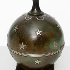 Ystad Metall A SCANDINAVIAN MODERN BRONZE LAMP WITH SILVER STARS FROM YSTAD METALL - 1178841