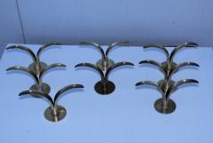 Ystad Metall Set of Eight Swedish Brass Candleholders By Ystad Metall - 870718