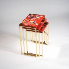 Zelouf and Bell Furniture Makers Kiku Variation Nesting Tables Orange - 1556266
