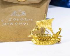 Zolatas Zolotas 18 Karat Handmade Gold Ancient Greek Warship Oar Boat Brooch Pin - 1005180