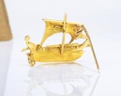 Zolatas Zolotas 18 Karat Handmade Gold Ancient Greek Warship Oar Boat Brooch Pin - 1005183