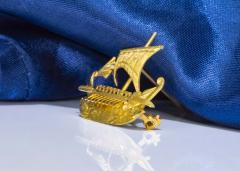 Zolatas Zolotas 18 Karat Handmade Gold Ancient Greek Warship Oar Boat Brooch Pin - 1005186